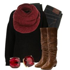 """""""Black, Brown, & Crimson"""" by qtpiekelso on Polyvore"""
