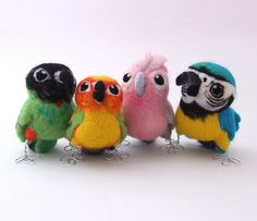 Awesome felted birds by Mel Green! (Custom order for Bec by feltmeupdesigns, via Flickr)