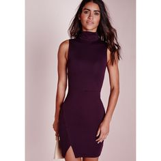 8d0722098a17 Missguided Roll Neck Wrap Hem Bodycon Dress Purple ($34) ❤ liked on Polyvore  featuring