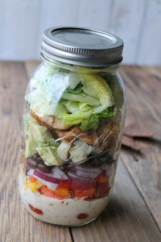 Southwest Ranch Chicken Mason Jar Salad 363 calories. Delicious make-ahead salad in a jar recipe. Make on sunday for healthy lunches all week.