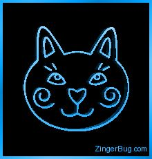 3D Graphic Silly Cat Head Blue Glitter Graphic, Greeting, Comment, Meme or GIF
