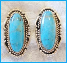 Beautiful Turquoise sterling silver oval cabochon earrings~$ 49.00