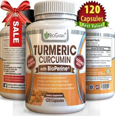 Turmeric Curcumin Extract Supplement with BioPerine 1000mg (120 Capsules) Best Anti-Inflammatory Pills to Relieve Pain (Supreme Ground Root Powder Has Super Health Benefits and No Side Effects) *** Hurry! Check out this great product : Weight Loss Herbal Supplements