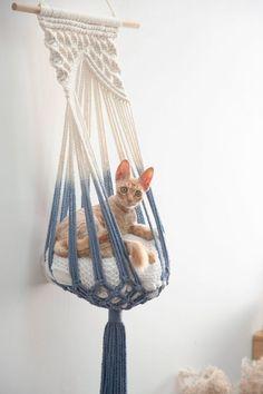 Diy Cat Hammock, Diy Cat Bed, Hammock Bed, Macrame Cord, Macrame Knots, Pet Furniture, Macrame Patterns, Woven Wall Hanging, Cat Lover Gifts