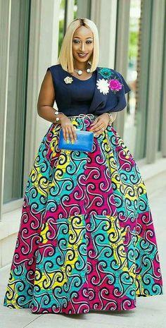 Long skirt with African print, African fashion, Ankara, kitenge, African woman dress . African Inspired Fashion, Latest African Fashion Dresses, African Dresses For Women, African Print Dresses, African Print Fashion, African Attire, African Prints, African Women, Ankara Fashion
