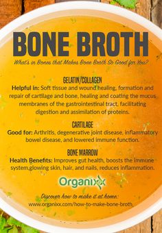 Do you make bone broth at home? Bone broth is delicious to drink by itself or use it as a soup base. But did you know that it has numerous healing benefits? From eating bone marrow: it improves gut health, boosts the immune system, for glowing skin, hair, Bone Marrow Broth, Bone Broth Soup, Gelatin Collagen, Making Bone Broth, Improve Gut Health, Soup Recipes, Healthy Recipes, Healthy Soup, Recipes