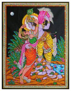 Secret Rendezvous of Radha and Krishna (Sequin Work on Printed Cloth - Unframed) Radha Krishna Wallpaper, Radha Krishna Love, Radhe Krishna, Tanjore Painting, Krishna Painting, Good Morning Krishna, Indian Art Gallery, Spiritual Symbols, Mural Painting
