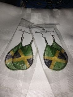 Jamaican flag tread earring two pairs for $14.00