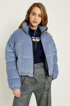 Slide View: UO Blue Corduroy Cropped Puffer Jacket - Women Puffer Jackets - Ideas of Women Puffer Jackets Puffer Jacket With Fur, Bomber Jacket Winter, Puffer Jackets, Urban Outfitters, Streetwear Jackets, Winter Coats Women, Festival Outfits, Corduroy, Winter Outfits