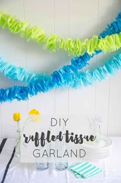 DIY Ruffled Tissue Garland DIY Ruffled Tissue Garland (for only a couple bucks!) LOVE this idea so much! Could be made in any color for any occasion! The post DIY Ruffled Tissue Garland appeared first on Paper Diy. Tissue Paper Decorations, Tissue Paper Garlands, Tissue Paper Crafts, Diy Party Decorations, Fabric Garland, Diy Party Garland, Crepe Paper Streamers, Diy Paper, Birthday Garland