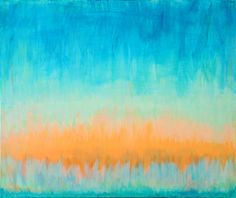 Large Abstract Painting Acrylic 24 x 20 Orange Blue Green Contemporary Modern Art NEW 2013. $325.00, via Etsy.