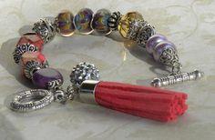Lampwork Bead Handmade Beaded Bracelet by bdzzledbeadedjewelry Handmade Beaded Jewelry, Unique Jewelry, Colorful Bracelets, Boho Gypsy, Lampwork Beads, Beaded Bracelets, Trending Outfits, Handmade Gifts, Earrings