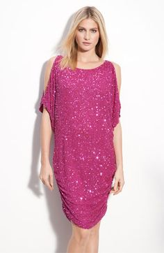 Aidan Mattox Shirred Hem Sequin Cold Shoulder Dress available at Nordstrom