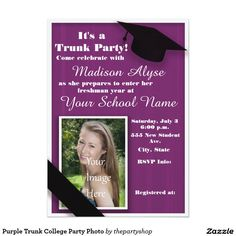 Teal and White Trunk College Party Photo Card College parties