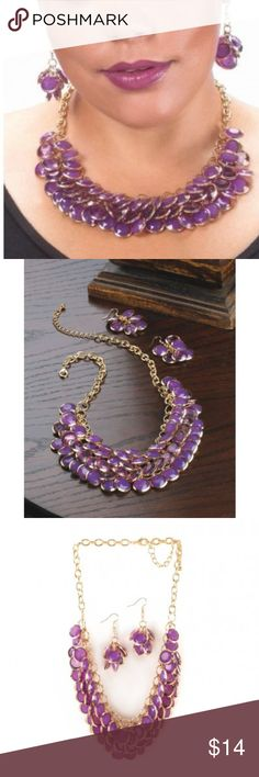 """RADIANT ORCHID CIRCLET JEWELRY SET This jewelry set with orchid-hue gems, dramatically bunched and layered, create a striking accent to finish your favorite outfit.  Faceted orchid-hue gems, dramatically bunched and layered, create a striking accent to finish your favorite outfit. The golden chain necklace features three rows of round purple stones, and the matching dangle earrings are the perfect accompaniment. Necklace: 19"""" long, extended to 21"""" long; each earring is 2"""" long. Material…"""