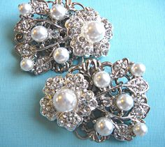 Wedding Shoe Clips,Vintage Style,Ivory or white Pearl, Crystal, Rhinestone shoe clips, Bridal shoes. $37.50, via Etsy.