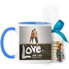 Full of Love Mug, Light Blue, with Ghirardelli Assorted Squares, 11 oz, White