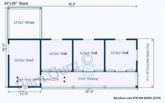 3 Stall Horse Barn Plan could fix this to be a pasture/boarding barn by running fencing along the 'back' of the barn for paddocks. Horse Shelter, Horse Stables, Horse Farms, Horse Paddock, Horse Barn Plans, Shed Blueprints, Run In Shed, Small Barns, Dream Barn