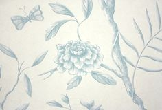 Jasper Peony Wallcovering Beautiful climbing floral in aqua on mottled beige background