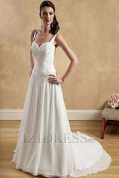 A-Line Princess Sweetheart Chiffon A-Line Wedding Dresses at IZIDRESS.com