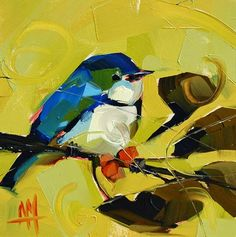 """Daily Paintworks - """"Cerulean Warbler no."""" by Angela Moulton Bird Artists, Feather Painting, Painting & Drawing, Knife Painting, Paintings I Love, Bird Drawings, Watercolor Bird, Wall Art Designs, Beautiful Birds"""