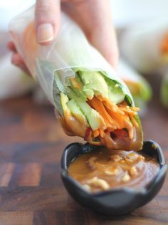 Light, healthy Vietnamese summer rolls make a great summer lunch or dinner, particularly with creamy hoisin-peanut dipping sauce. {Vegan, Gluten-Free}