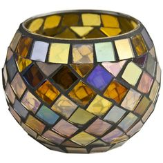 Round Mosaic Tea Light Holder -The Range Mosaic Flower Pots, Mosaic Pots, Mosaic Garden, Mosaic Glass, Stained Glass Designs, Mosaic Designs, Stained Glass Panels, Mosaic Crafts, Mosaic Projects