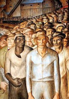 Artist Diego Rivera  Migrant workers -  muralista mexicano de ideología comunista, famoso por plasmar obras de alto contenido social en edificios públicos
