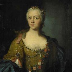 """Portrait of a Woman,"" anonymous, 1740 - 1760; Rijksmuseum SK-A-3279 (classicized court dress? costume?)"