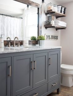 Home Decor Ideas Ikea This Industrial Farmhouse Bathroom is the perfect blend of styles and creates such a cozy atmosphere!Home Decor Ideas Ikea This Industrial Farmhouse Bathroom is the perfect blend of styles and creates such a cozy atmosphere! Bathroom Inspiration, Sweet Home, Boys Bathroom, Bathroom Decor, Bathroom Remodel Master, Farmhouse Bathroom Decor, Industrial Farmhouse Bathroom, Farmhouse Master Bathroom, Home Decor