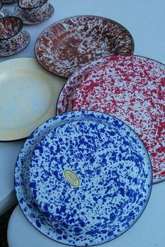 Enamel Ware Set Speckled Blue Pie Plate Red Serving Dish Yellow Camp Bowl ...  etsy.com