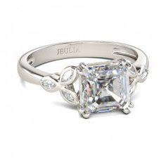 Asscher Cut Created White Sapphire Engagement Ring