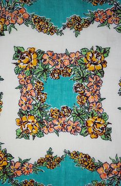 Vintage 1950s Tiffany Blue Tropical Rose by buttonitupvintage #vintagehankie #tropical #buttonitupvintage #1950s