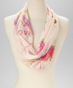 Cream & Pink Flower Infinity Scarf