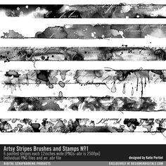 Artsy Stripes Brushes and Stripes No. 01 #artsy #stripes #watercolors #painted #stitched #stamps #abr #digital #digitalart #designerdigitals