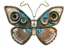 Butterfly - Michelle Stitzlein creates found object art / sculpture from recycled materials, including piano keys, broken china, license plates, rusty tin cans, electrical wire, bottlecaps, and other miscellaneous items.