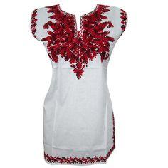 Mogulinterior Bohemian Tunic Top White Cotton Red Embroidered Kurta Blouse S