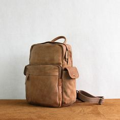 Brown leather backpack women, gift for her, back to school gift, brown leather…  Visit Milkybeer.com for genuine handmade leather bags