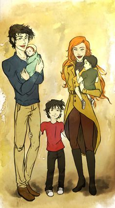 Harry Potter, Ginny Potter (neé Weasley), James Sirius Potter, Albus Severus Potter and Lily Luna Potter Fanart Harry Potter, Arte Do Harry Potter, Harry Potter Love, Harry Potter Universal, Harry Potter Fandom, Harry Potter World, Harry Und Ginny, Harry E Gina, Harry And Ginny Fanfiction
