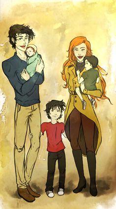 The Potter family - Harry James, Ginevra Molly, James Sirius, Albus Severus, Lily Luna