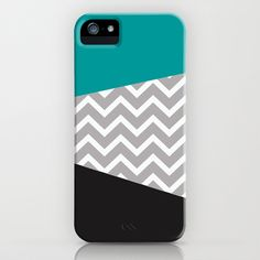 Teal Black Grey Chevron iPhone Case iPhone & iPod Case