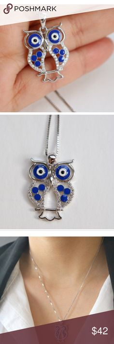 """Sterling silver blue enamel owl necklace Sterling Silver Owl Necklace.  Both necklace and pendant marked 925.  Necklace Lenght: 15"""" + 1.9"""" Jewelry Necklaces"""