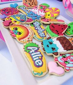 You have to see these cookies at a Shopkins birthday party! See more party plann. You have to see these cookies at a Shopkins birthday party! See more party planning ideas at CatchM Shopkins Cookies, Shopkins Bday, Shopkins Cake, 9th Birthday Parties, Girl Birthday, Birthday Ideas, Tea Parties, Biscuits, Cupcakes