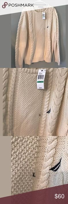 800a1e659f4bd7 Nautical cream cable knit sweater men's large new New w tag from belk  Nautica Sweaters Crewneck