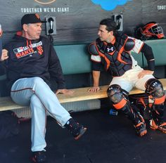 Meeting of the minds @busterposey #sfgiants #attpark