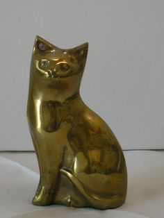 Vintage Solid Brass Cat Figurine