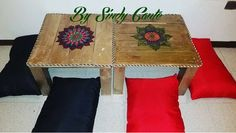 Mesas Zen con Mandalas hechas con Pallets Table, Furniture, Vintage, Home Decor, Zen Style, Recycled House, House Decorations, Mandalas, Blue Prints