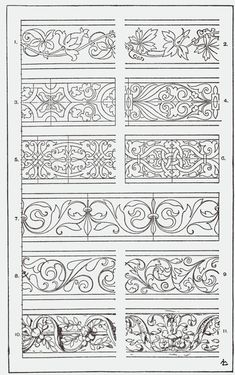 "From, ""A Handbook of Ornament"". 1898 by Franz Sales Meyer. Border Design, Pattern Design, Bordado Jacobean, Gravure Metal, Motifs Art Nouveau, Carving Designs, Leather Pattern, Illuminated Manuscript, Pyrography"