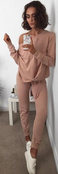 Dusty Pink off The Shoulder Tracksuit                                                                             Source