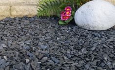 Graphite Grey Slate size is now available from Decorative Aggregates. Palm Trees Landscaping, Gravel Landscaping, Landscaping With Rocks, Landscaping Ideas, Slate Garden, Garden Edging, Garden Borders, Slate Paving Slabs, Decorative Garden Stones